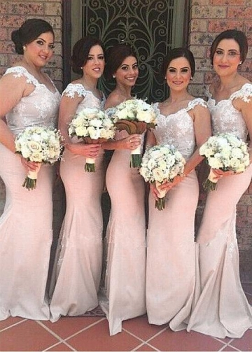 Delicate Floor-length Mermaid Bridesmaid Dresses With Lace Appliques