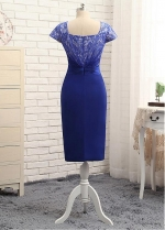 Delicate Royal Blue Knee-length Sheath/Column Mother Of The Bride Dresses With Jacket