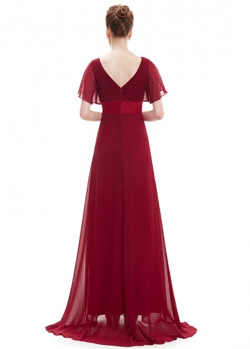 Charming Chiffon V-neck Neckline Illusion Sleeves Full Length A-line Prom / Mother Of The Bride Dress With Pleats