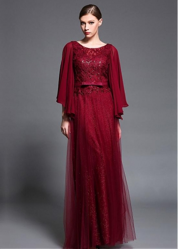 Modest Tulle & Stretch Charmeuse Scoop Neckline Capelet sleeves A-line Prom/Mother Of The Bride Dresses With Belt