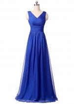 Elegant Chiffon & Sequin Lace V-Neck Neckline A-line Prom / Mother Of The Bride Dresses
