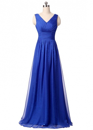 Elegant Chiffon & Sequin Lace V-Neck Neckline A-line Prom / Mother Of The Bride Dresses