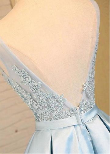 Cute Satin V-neck Neckline SkyBlue A-line Bridesmaid / Sweet 16 Dress