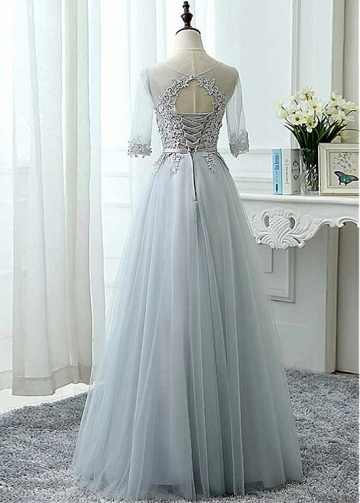 Modest Tulle Jewel Neckline A-line Bridesmaid Dress With Lace Appliques & Sash