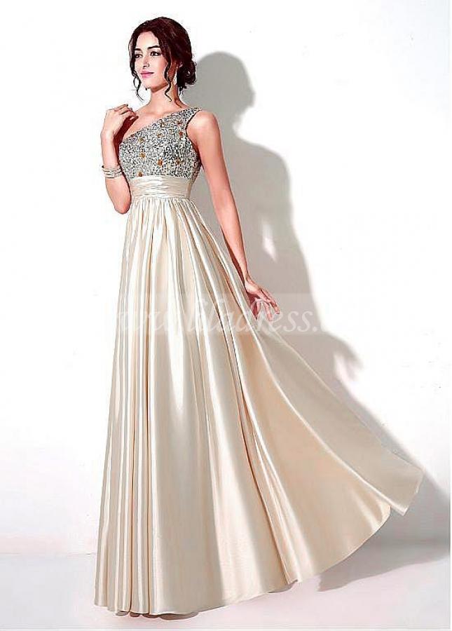 Romantic Stretch Satin One Shoulder Neckline A-line Prom Dresses