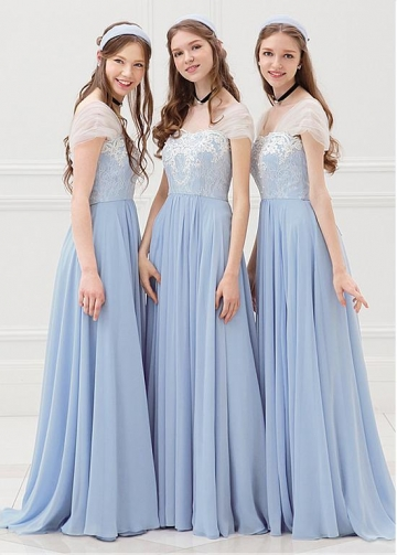 Modest Tulle & Chiffon Sweetheart Neckline Cap Sleeves A-line Bridesmaid Dresses