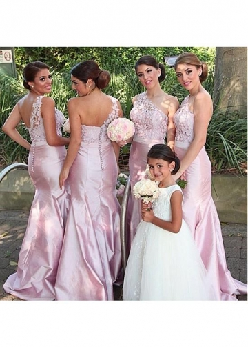 Alluring Lace & Taffeta One Shoulder Neckline Floor-length Mermaid Bridesmaid Dresses With Handmade Flowers & Beadings