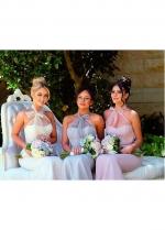 Charming Satin Halter Neckline Backless Mermaid Bridesmaid / Prom Dresses