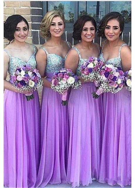 Fabulous Chiffon V-neck Neckline A-line Bridesmaid Dresses With Beadings