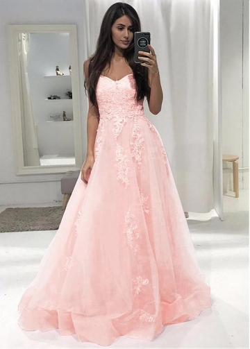 Eye-catching Tulle Sweetheart Neckline Floor-length A-line Prom Dress With Lace Appliques