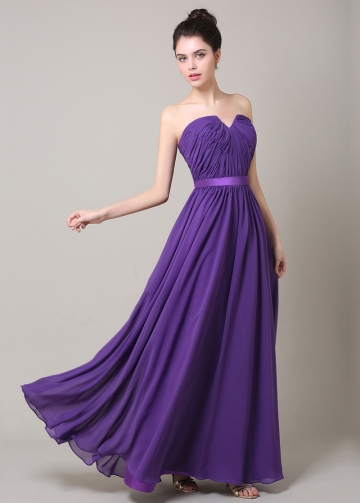 Elegant Chiffon Sweetheart Neckline A-line Bridesmaid Dress