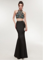Fashionable Satin Halter Neckline Two-piece Mermaid Prom Dress With Beadings