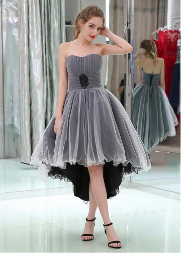 Charming Tulle Sweetheart Neckline Hi-lo Length A-line Prom Dresses With Beadings