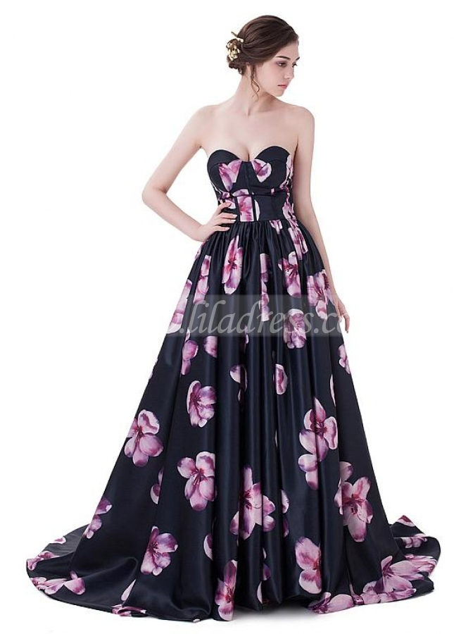 Exquisite Print Sweetheart Neckline Prom Dresses With Pleats