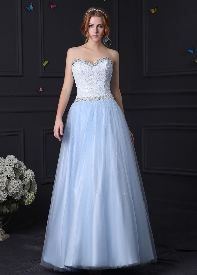 Gorgeous Tulle & Satin Sweetheart Neckline A-Line Prom Dresses