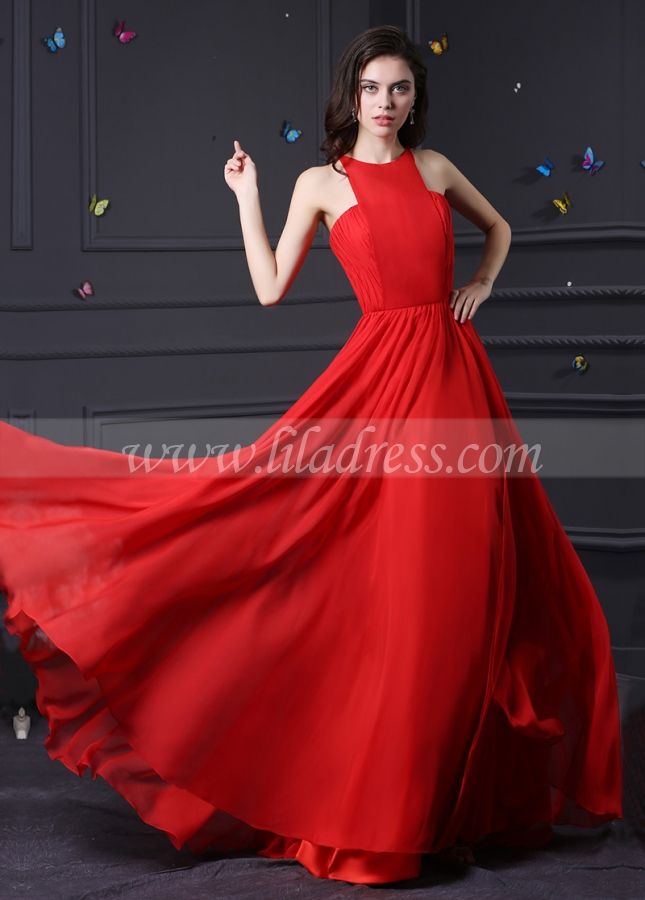 Amazing Chiffon & Stretch Satin High Collar Neckline A-Line Prom / Bridesmaid Dresses