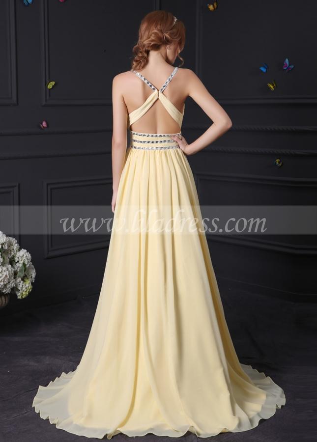 Elegant Chiffon & Stretch Satin V-Neck A-Line Prom Dresses