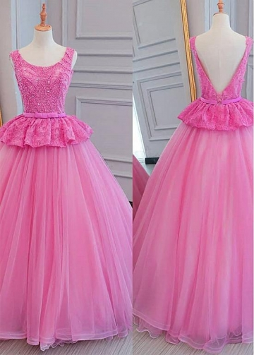 Brilliant Lace & Tulle Scoop Neckline Floor-length Ball Gown Quinceanera Dresses With Beadings & Bowknot