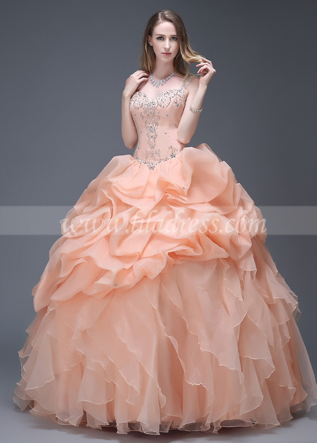 Gorgeous Organza Sweetheart Neckline Ruffled Ball Gown Quinceanera Dresses