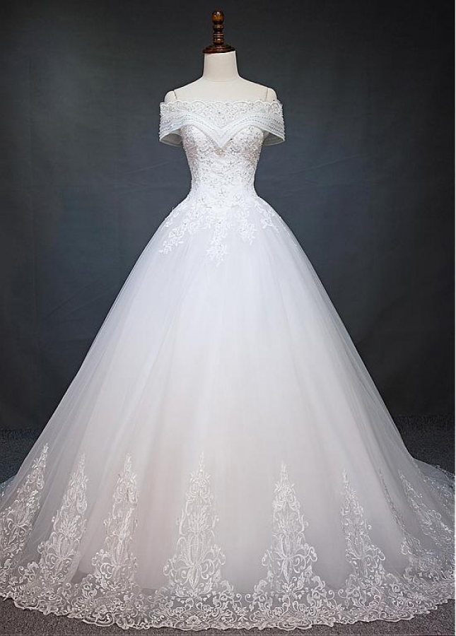 Marvelous Tulle Off-the-shoulder Neckline Ball Gown Wedding Dress With Beaded Lace Appliques