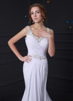 Stunning Chiffon V-neck Mermaid Wedding Dress With Beaded Lace Appliques