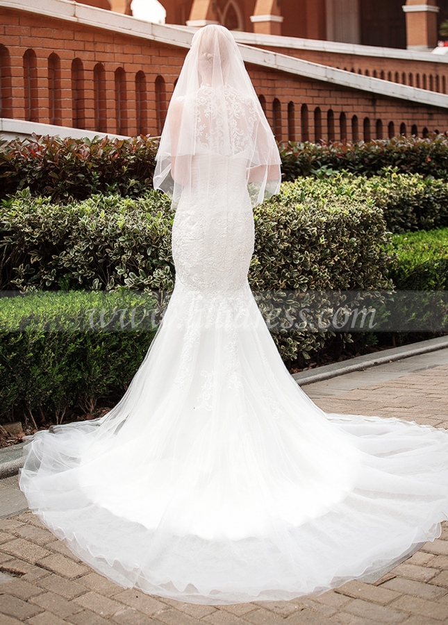 Elegant Tulle Illusion High Neckline Mermaid Wedding Dresses With Beaded Lace Appliques