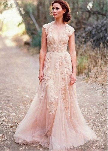 Alluring Tulle V-neck Neckline A-line Wedding Dresses