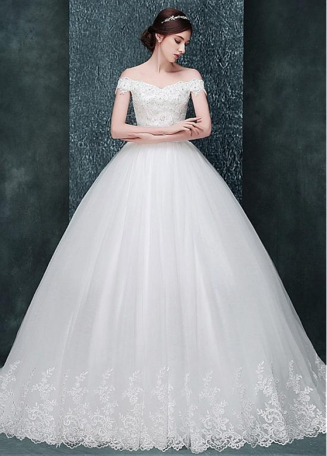 Glamorous Tulle Off-the-shoulder Neckline Ball Gown Wedding Dress With Beaded Lace Appliques