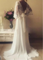 Flowing Chiffon V-Neck A-Line Wedding Dresses With Lace Appliques