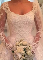 Attractive Tulle Scoop Neckline A-Line Wedding Dress With Beadings & Lace Appliques