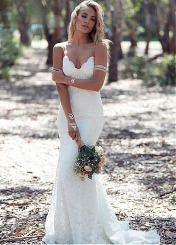 Charming Lace Spaghetti Straps Neckline Backless Mermaid Wedding Dress