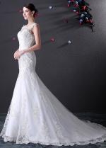 Alluring Illusion Bateau Neckline Mermaid Wedding Dress