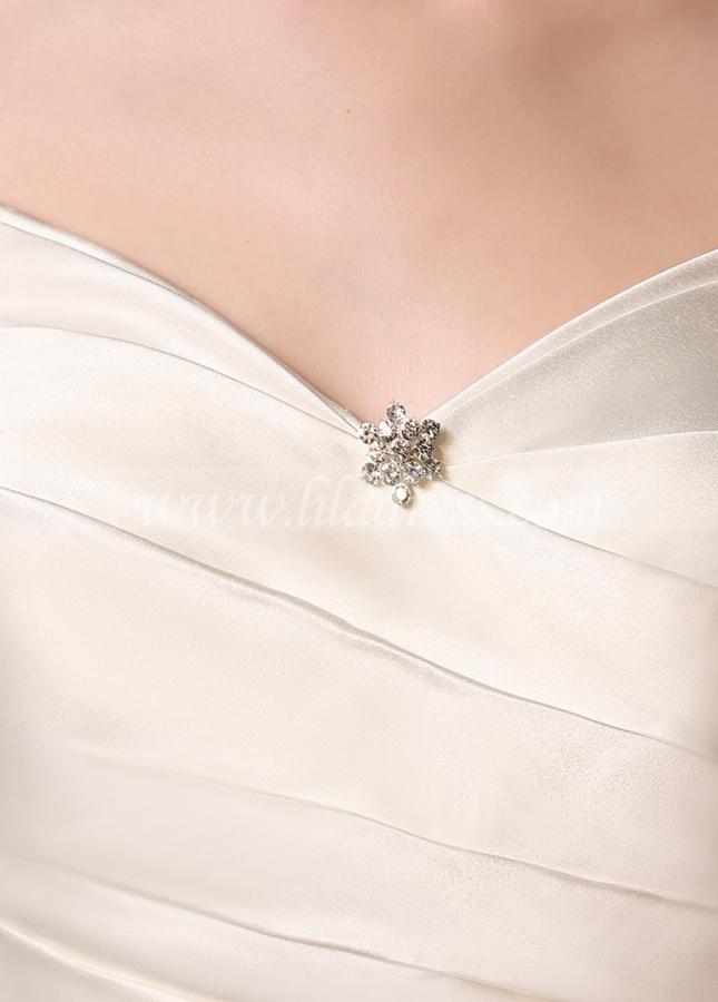 Marvelous Satin V-neck Neckline Mermaid Wedding Dresses with Rhinestones