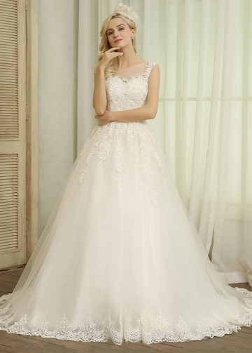 Glamorous Tulle Scoop Neckline A-line Wedding Dresses With Beaded Lace Appliques