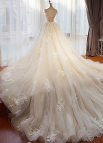 Stunning Tulle Jewel Neckline 2 In 1 Wedding Dresses With Beaded Lace Appliques & Detachable Train
