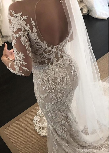 Exquisite Tulle Jewel Neckline Mermaid Wedding Dresses With Beaded Lace Appliques