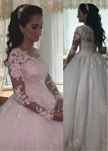 Stunning Tulle Jewel Neckline Ball Gown Wedding Dresses With Beaded Lace Appliques