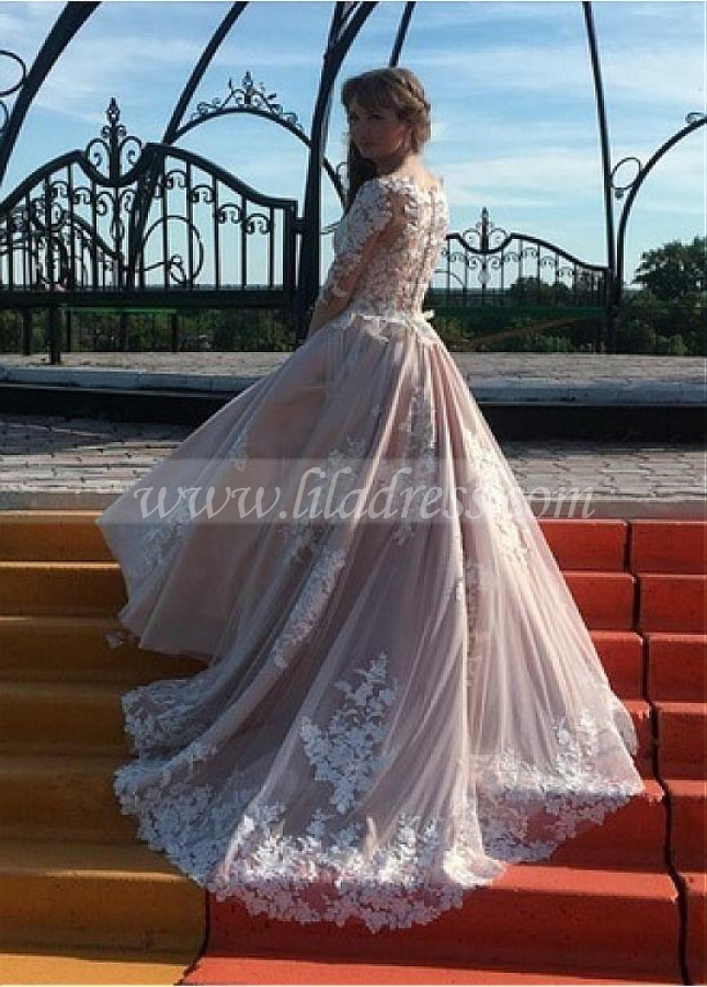 Junoesque Tulle Bateau Neckline A-line Wedding Dresses With Beaded Lace Appliques
