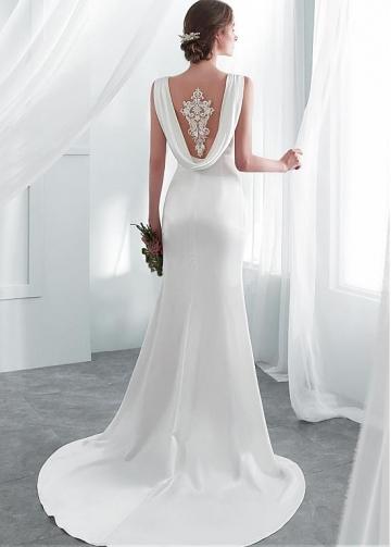 Elegant Tulle & Acetate Satin Scoop Neckline Mermaid Wedding Dresses With Lace Appliques & Beadings