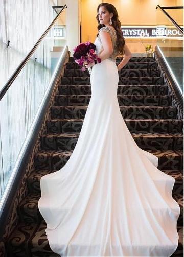 Winsome Tulle & Chiffon V-neck Neckline Mermaid Wedding Dresses With Beadings