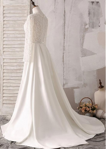 Chic Tulle & Satin V-neck See-through Bodice Mermaid Wedding Dresses With Beaded Embroidery