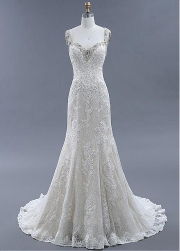 Fantastic Tulle & Lace Sweetheart Neckline Mermaid Wedding Dresses With Beadings & Lace Appliques