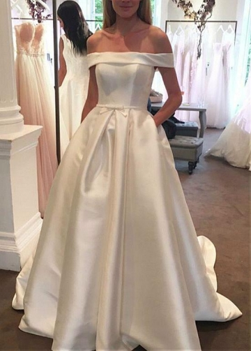 Delicate Satin Off-the-shoulder Neckline A-line Wedding Dresses With Belt & Pockets