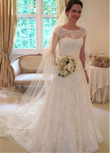 Marvelous Lace Jewel Neckline Full-length A-line Wedding Dress With Belt