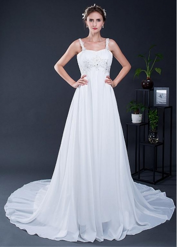 Modest Chiffon Sweetheart Neckline A-line Wedding Dress With Beaded Lace Appliques