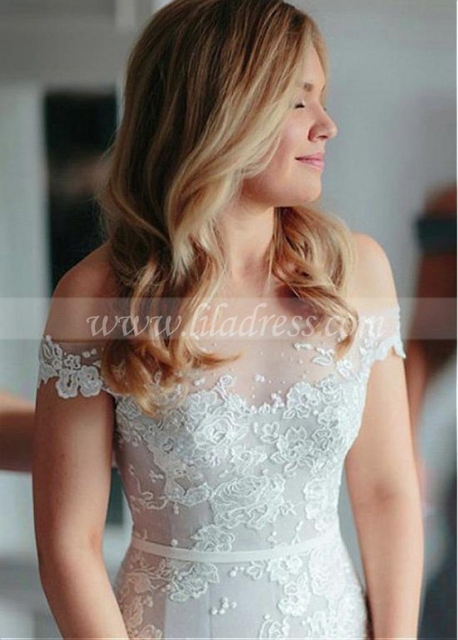 Modest Tulle Off-the-shoulder Neckline Natural Waistline Mermaid Wedding Dress With Lace Appliques & Belt