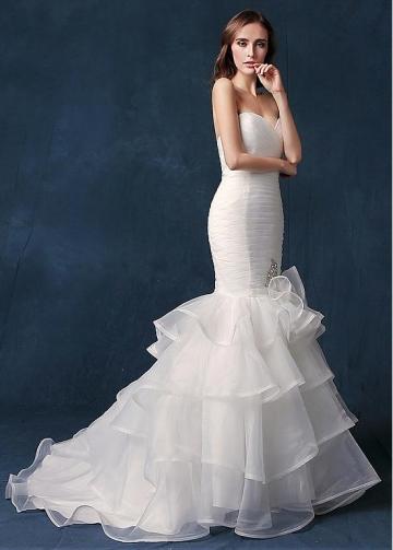 Gorgeous Organza Sweetheart Neckline Natural Waistline Mermaid Wedding Dress With Rhinestones & Ruffles