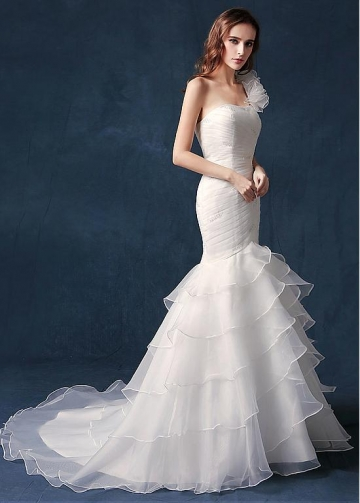 Exquisite Organza One Shoulder Neckline Natural Waistline Mermaid Wedding Dress With Ruffles & Beadings