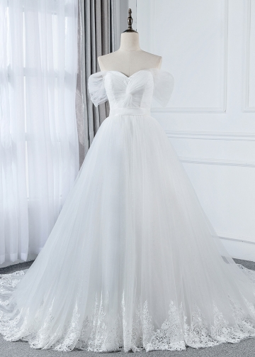 Marvelous Tulle Off-the-shoulder Neckline A-line Wedding Dress With Lace Appliques & Belt