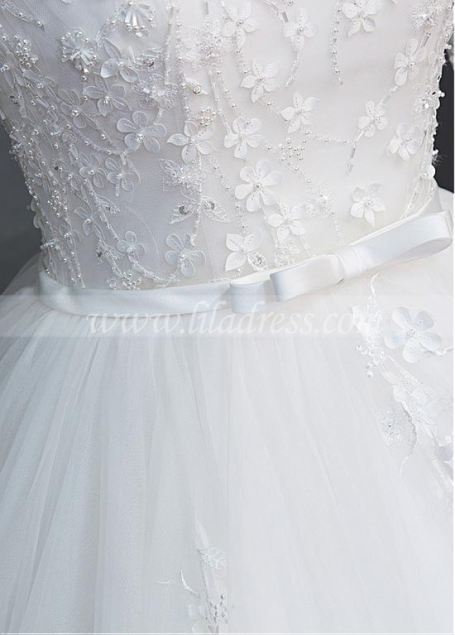 Glamorous Tulle Scoop Neckline Ball Gown Wedding Dress With Beaded Lace Appliques & Handmade Flowers & Belt